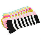 Lot 1/6 Pairs Women Multi-Color Striped Cotton Long Five Fingers Toe Socks Gift