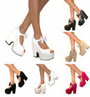 WOMENS DEMI WEDGE BOW PLATFORM CHUNKY PEEP TOE HIGH HEEL MARY JANE SHOES SANDALS