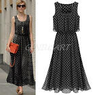 New Women Girls Polka-dot Chiffon Long Dress Off Shoulder Tunic Beach Prom Dress