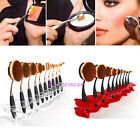 10PCS Oval Toothbrush Lip Powder Blusher Foundation Eye Makeup Brushes + Holder