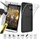 HOT Tempered Glass + Ultra Thin Clear TPU Soft back Protective Case Skin For HTC