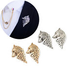 2 Pc Vintage Wolf King Head Collar Clip Pins Brooch Breastpin Boutonniere Unisex