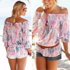 Women Sexy Summer Off Shoulder Mid Sleeve Chiffon Shirt Mini T shirts Loose Tops