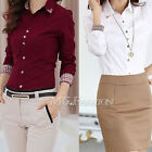 Women Long Sleeve Shirts Blouse Tops Burgundy Office Lady's Christmas Gift Best