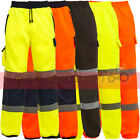Hi Viz Cargo Combat Work Wear Jogging Bottoms Thick Brush Fleece Trouser Joggers
