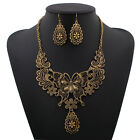 Vintage Women Butterfly Charm Choker Bib Statement Necklace Chain Earring set