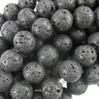 "Black Valcano Lava Beads Gemstone 15.5"" Strand 4mm 6mm 8mm 10mm 12mm 14mm"