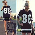Women's Sport Tops Print Casual Loose T-Shirt Summer Mini Dress SZ S-XXL