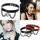 Womens Heart Dangle Pendant Chain Punk Gothic Leather Necklace Collar Choker Hot