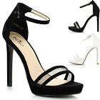Ladies Women Barely There Mesh Band Strappy Stiletto Heel Peep Toe Sandals Shoes