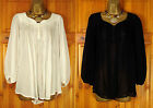NEW NEXT LADIES BLACK OR IVORY WHITE FLOATY LOOSE FIT CHIFFON BLOUSE TOP UK 6-14