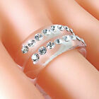 Clear Acrylic 2 Band Ring 2 Rows Of Swarovski Elements Crystal By Luna Bianca