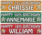 """2 PERSONALISED BIRTHDAY BANNER - ANY NAME  3ft - 36 """"x 11"""" 1"""