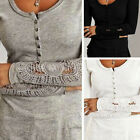 Womens Casual Cotton Long Sleeve Shirt Lace Blouse Slim Tops T Shirt V Neck