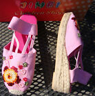 PINK CANVAS SEQUIN BEAD RUBBER SOLE ROPE WEDGE NEW