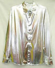 Men Cabaret Disco Fancy Party Dance Singer Metallic Silver Shirt long sleeve
