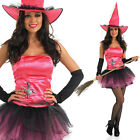 Ladies Pink Witch Costume - Halloween Fancy Dress Witches Outfit + Gloves + Hat