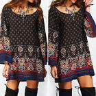 Lady Summer Long Print Sleeve Loose Sexy Party Boho Beach Mini Dress Ethnic