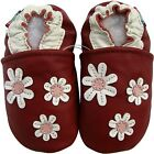 carozoo 3 flowers dark red outdoor rubber sole leather shoes up to 4 years old