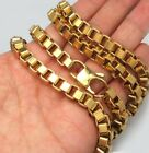 MENS' STEEL 24K Gold Tone ION PLATED 7mm Box Rolo Chain Bracelet LONG LASTING