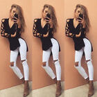 Womens Hollow Casual Tops Loose Long Sleeve Blouse Fashion Lace Sexy T Shirt Hot