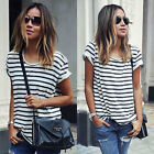 Fashion Womens Ladies Striped Summer Loose Tops Short Sleeve Blouse T Shirt