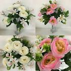 3 x 32cm Bouquets Of Artificial Ranunculus & Orchids *Ideal For Weddings*