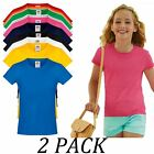 2-PACK-Fruit Of The Loom Girls Soft spun T-Shirt Short Sleeve Crew neck tshirts