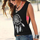 Womens Lady Dreamcatcher Printed Sleeveless Crop Tops Tank Vest Fashion