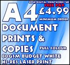 A4 DOCUMENT / LETTERHEAD PRINTING / ADVERTISING 100-80GSM WHITE A4