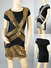 Ladies Cocktail Party&Casual Short Sleeves Bling Sequin Fashion Dress S M 2989
