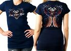 Live Love Ride T Shirt Patriotic Heart  Angel Wings Classic Cut Fit Navy T Shirt