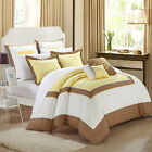 Ballroom Yellow, Brown & White 7 Piece Comforter Bed In A Bag Set