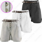 NEW LADIES LINEN CHINOS SHORTS WOMEN BELTED  HOT PANTS CROP SHORT TROUSERS