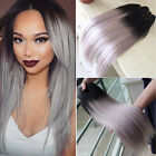100g Silver Grey Ombre Brazilian Virgin Straight Remy Human Hair Extensions