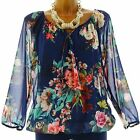 Blouse tunic bohemian flowers long sleeves navy BLUE CLARISSA blue