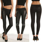 Women's Skinny Faux Leather Stretch Jeggings Trousers Jeans Pants Leggings Black