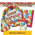 Birthday BALLOONS Tableware & Decorations (BIRTHDAY/Plates/Napkins/Banner)