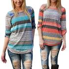 Women Sexy Fashion Loose Crew Neck Top Long Sleeve Striped T-Shirt Casual Blouse