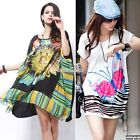 Women Sunflower Floral Batwing Casual Loose Novelty Boho Print Dress Tops S0BZ