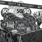 50/50th Birthday BLACK/SILVER GLITZ Party Range (BIRTHDAY/Plates/Napkins/Banner)