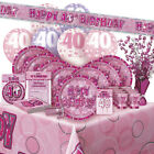 AGE 40/40TH BIRTHDAY PINK GLITZ PARTY RANGE (Balloon/Decoration/Banner/Napkins)