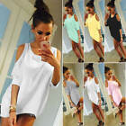 Ladies Cold Shoulder Loose T Shirt Tops Womens 3/4 Sleeve Casual Mini Dress 6-20