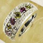 New Colourful Peridot Multi-Color Gemstones Silver Ring Size 6 7 8 9 10 11 12 13