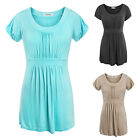 Women Casual Short Sleeve Draped Solid T-shirt Scoop Neck Flattering Tunic Tops