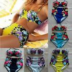 Women Sexy Vintage Retro High Waist Beachwear Padded Bra Bikini Set Swimsuit