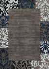 Blue Contemporary Synthetics Floral Petals Leaves Area Rug Bordered 710-00161