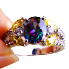 Classic Jewelry Rainbow & White Topaz & Citrine Gems Silver Ring Size O Q S T1/2