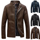 FASHION Men's Casual Thin Stand Collar PU Leather Coats Tops Motorcycle Jackets