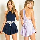 Sexy Womens Off Shoulder Spaghetti Strap Backless Short Jumpsuit Romper N98B